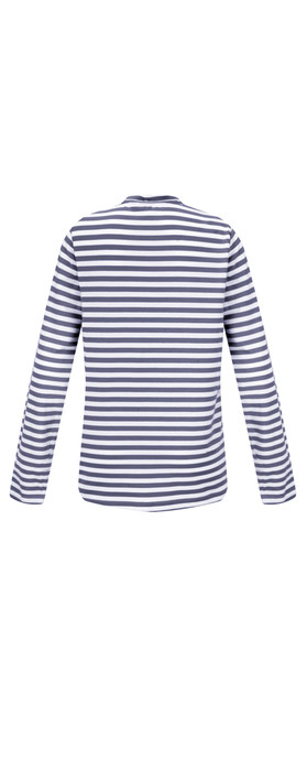 Sandwich Clothing Striped Bow Detail Top Dark Sapphire
