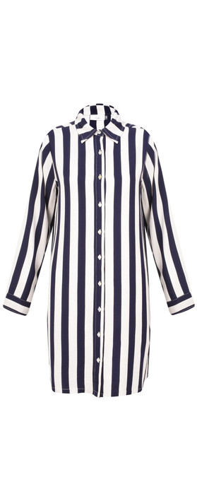 Adini Mainsail Stripe Surf Tunic Navy/White