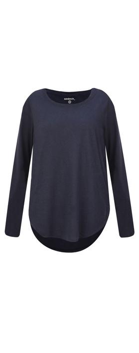 Sandwich Clothing Linen Mix Long Sleeve Top Dark Sapphire