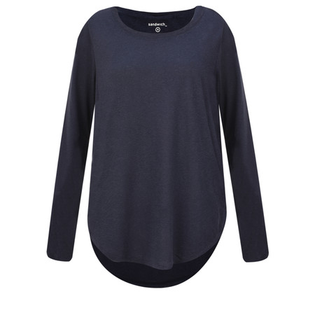 Sandwich Clothing Linen Mix Long Sleeve Top - Blue