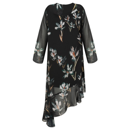 Religion Fantasy Floral Print Dress - Black