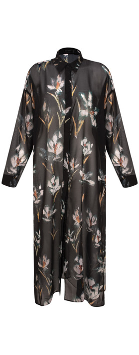 Religion Allure Maxi Shirt Tunic Dark Rise Print