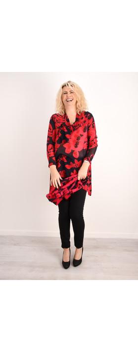 Masai Clothing Gynda Bold Floral Tunic Ruby Org