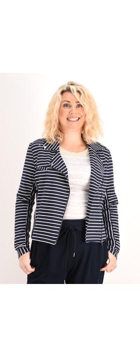 Sandwich Clothing Striped Jersey Jacket Dark Sapphire