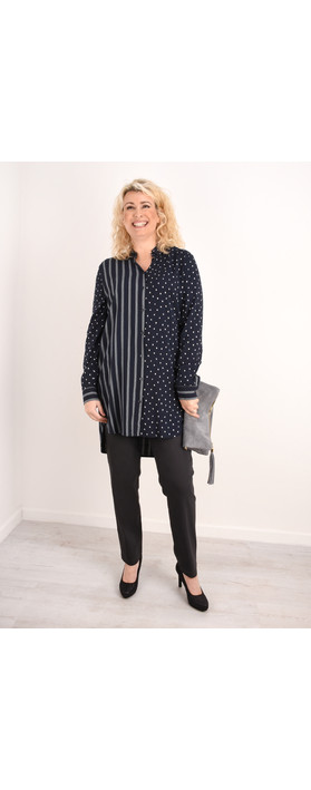 Sandwich Clothing Spots & Stripes Tunic Shirt Dark Sapphire