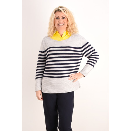 Sandwich Clothing Striped Chunky Knit Jumper - Grey