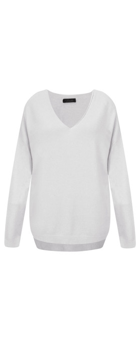 Fenella  Emmie EasyFit V-neck Knit Jumper Light Grey