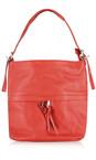 Gemini Label Bags Red Lecco Leather Tassel Shoulder Bag