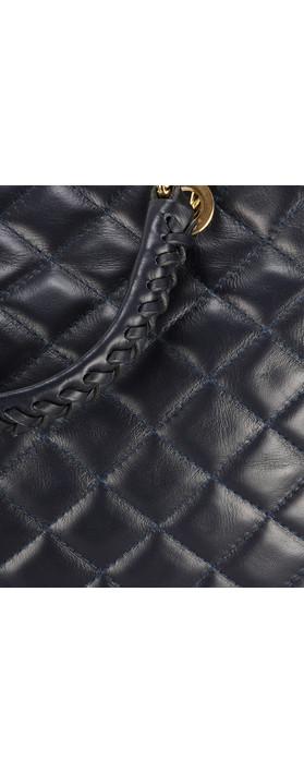 Gemini Label Bags Perlo Leather Tote Bag Navy