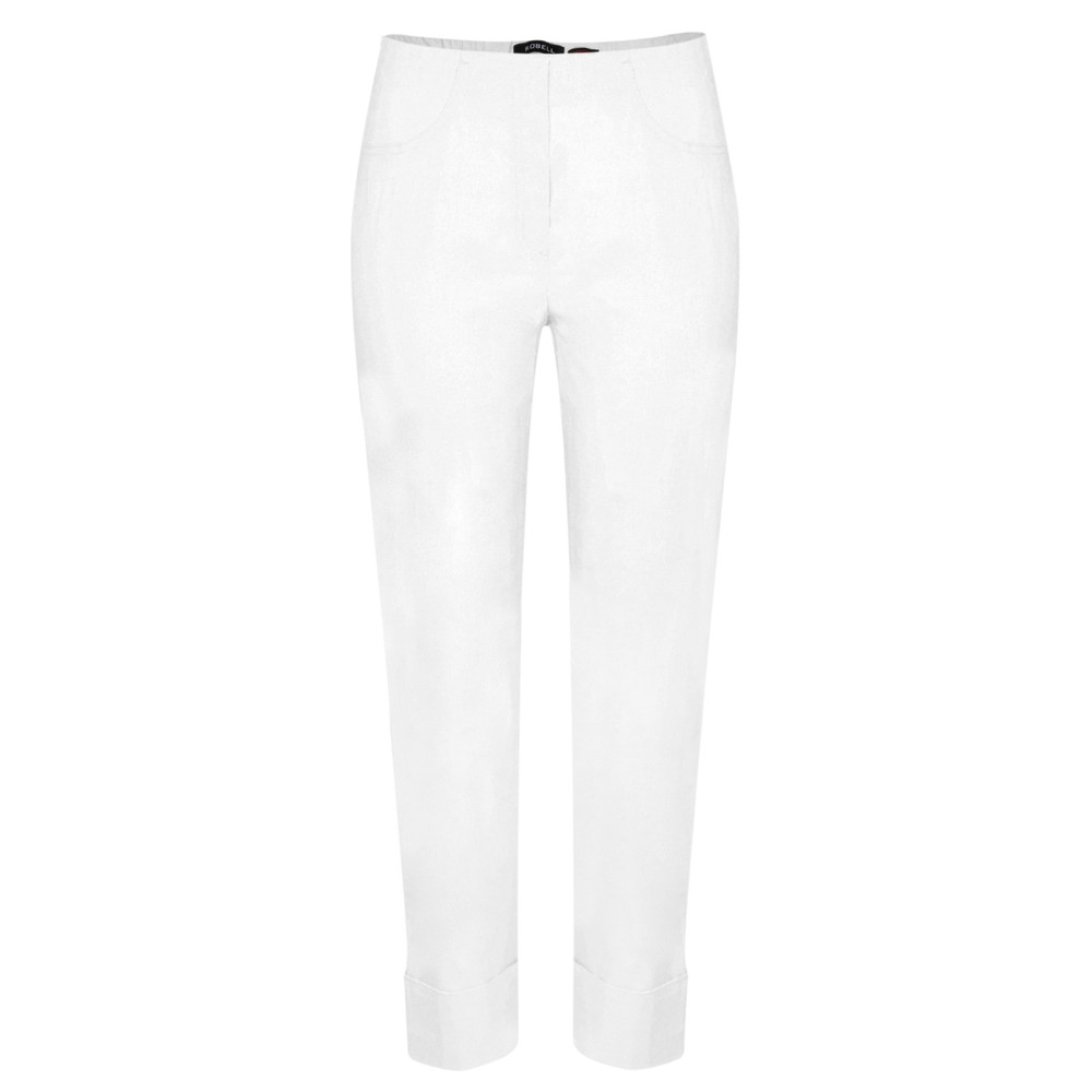 Robell Bella 09 White Ankle Length Crop Cuff Trouser White 10