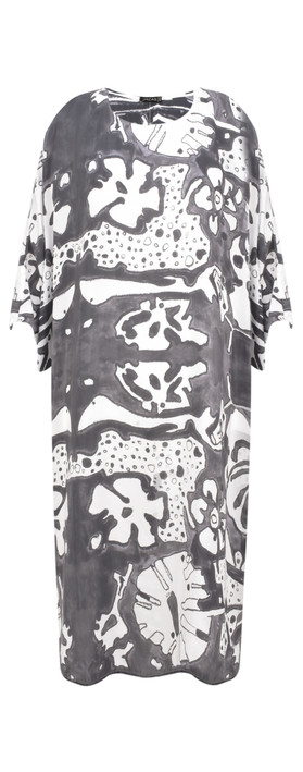 Grizas Vasara Printed Jersey Oversized Tunic White/grey