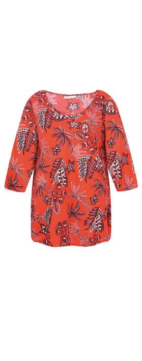 Masai Clothing Kiwi Tropical Floral Top Chili Org