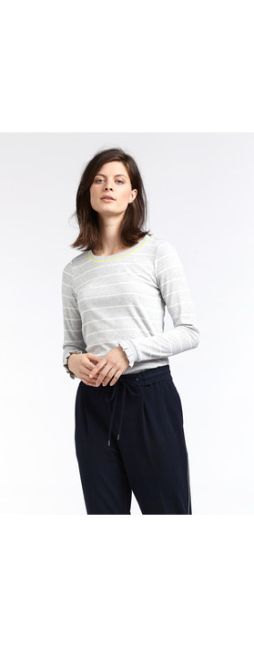 Sandwich Clothing Striped Rib Jersey Top Fresh Grey HTR