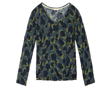 Sandwich Clothing Fine Net Leopard Top - Green