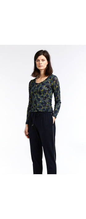 Sandwich Clothing Fine Net Leopard Top Deep Jade