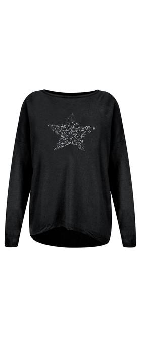 Luella Sequin Star Cashmere Blend Jumper Black/Charcoal