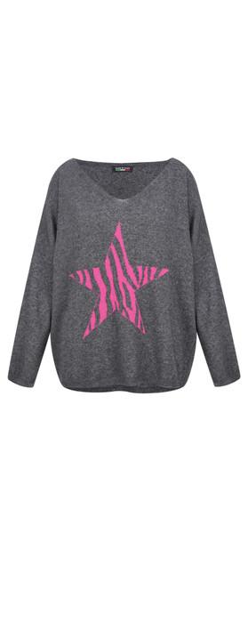 Emmashache Zebra Star Cashmere Blend Jumper Charcoal / Pink