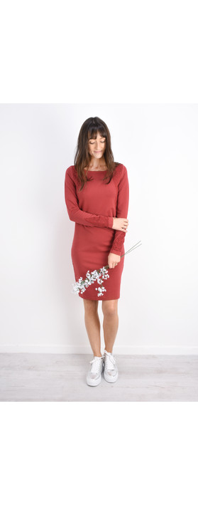 Sandwich Clothing French Terry Star Panel Dress Brick Red