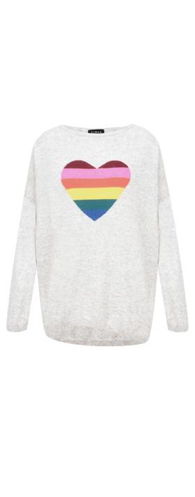 Luella Rainbow Heart Cashmere Blend Jumper Grey / Rainbow