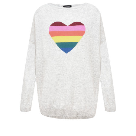 Luella Rainbow Heart Cashmere Blend Jumper - Grey
