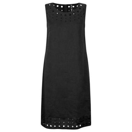 Foil Circle Embroidered Linen Dress - Black