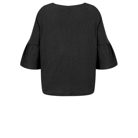 Foil  Frill Sleeve Top - Black