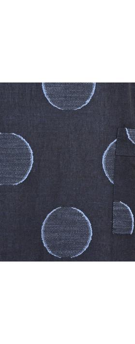 Foil Bold Circle Print Linen Dress Ink/Blue