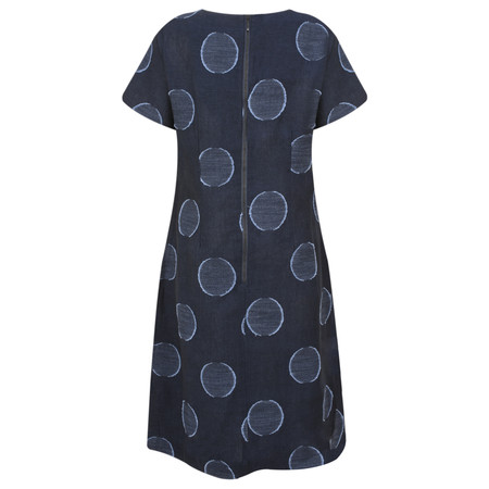 Foil Bold Circle Print Linen Dress - Blue