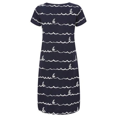 Foil Sailing Away Print Dress - Blue