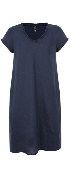 Foil Fringe Edge Linen Dress Navy