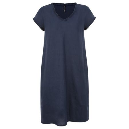 Foil Fringe Edge Linen Dress - Blue