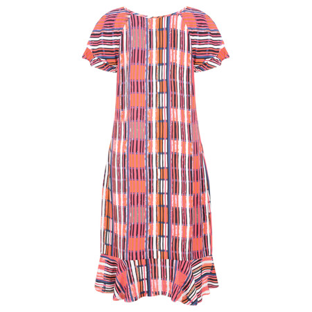 Foil Abstract Print Ruffle Dress - Multicoloured
