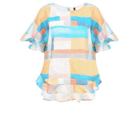Foil Block colour Linen Top - Multicoloured