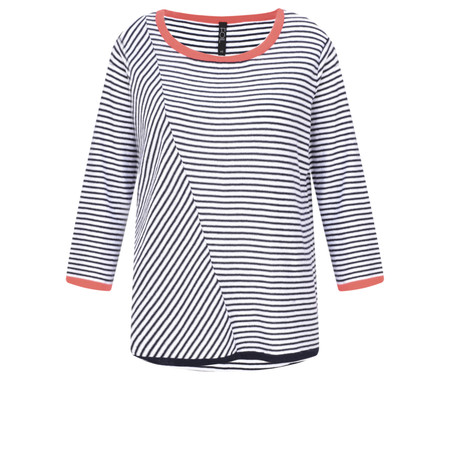 Foil Asymmetric Stripe Print Top - Multicoloured