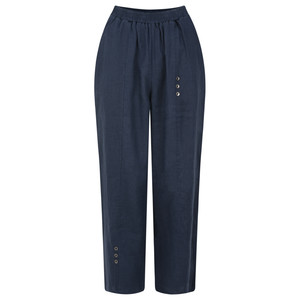 Foil Cropped Linen Three Button Trouser
