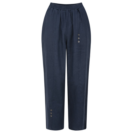 Foil Cropped Linen Three Button Trouser - Blue
