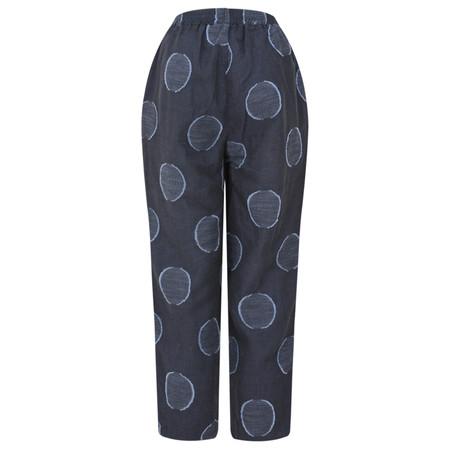 Foil Cropped Linen Three Button Trouser - Blue