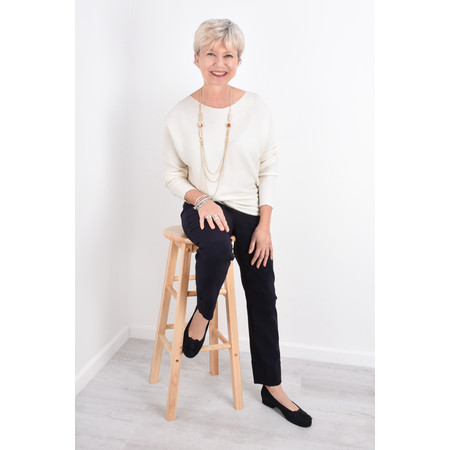Fenella  Janey Rib Easyfit Jumper - Off-White