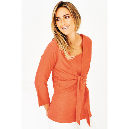 Adini Cotton Slub Sylvia Wrap Top - Orange