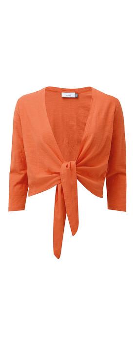Adini Cotton Slub Sylvia Wrap Top Tangerine
