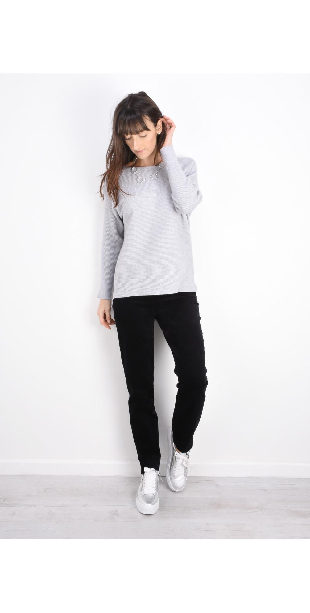 Marie Black Stretch Cotton Velvet Slim Full Length Trouser main image