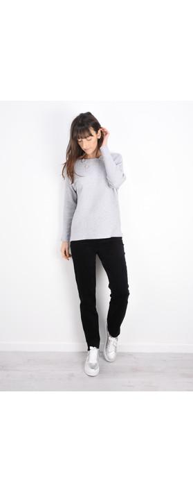 Robell Trousers Marie Stretch Cotton Velvet Slim Full Length Trouser Black
