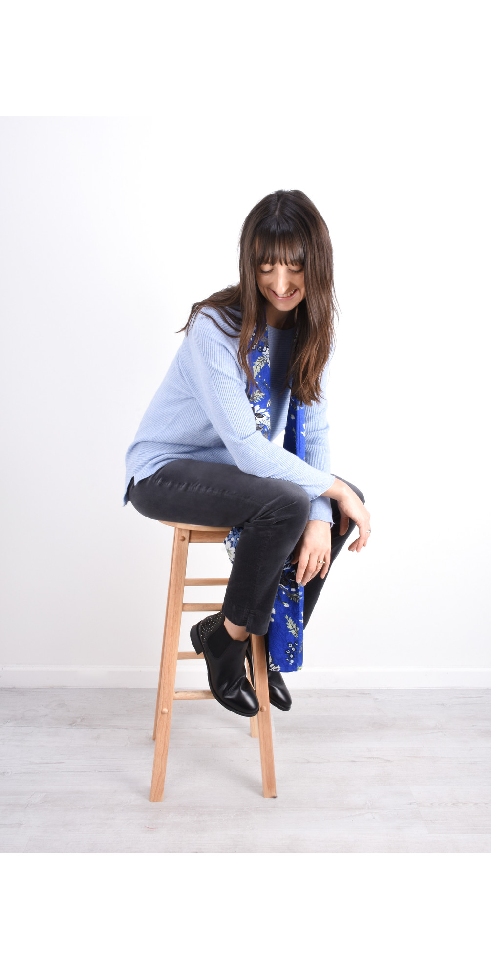 Marie Stretch Cotton Velvet Slim Full Length Trouser main image