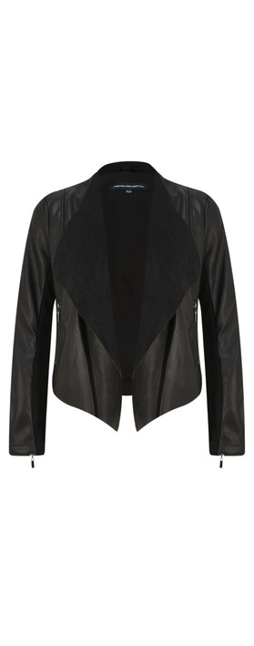 5729bb2e1 ConnectionStephanie Faux Leather Waterfall Jacket - Black