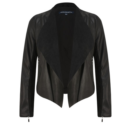 French Connection Stephanie Faux Leather Waterfall Jacket - Black