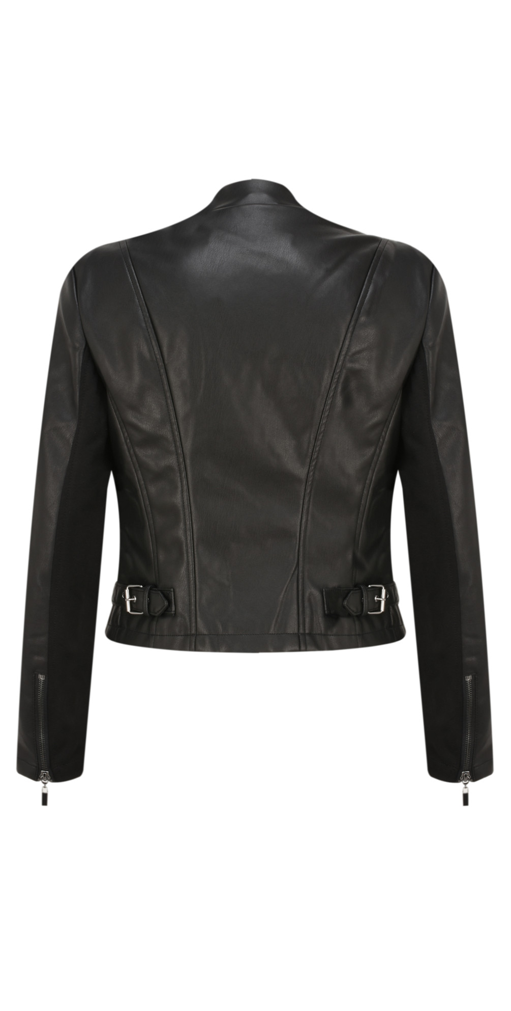d42efbfe7 French Connection Stephanie Faux Leather Waterfall Jacket in Black