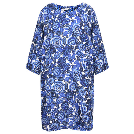 Masai Clothing Floral Print Garnette Tunic Dress  - Blue