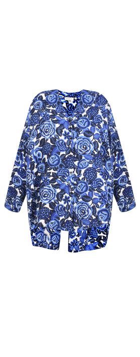 Masai Clothing Floral Print Ida Blouse Greek Blue Org