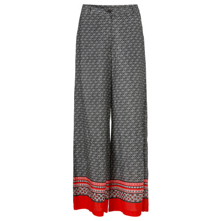 Masai Clothing Perinus Abstract Print Trouser With Border  - Red