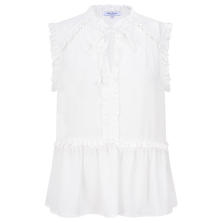 Great Plains Frill Detail Tie Neck Top - Off-White
